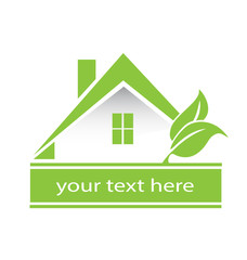 Vector - Logo Light Green house and leafs