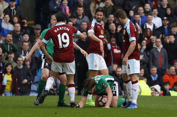 Burnley's Joey Barton clashes with Lincoln's Alex Woodyard