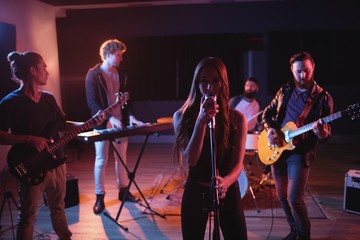Band performing in studio