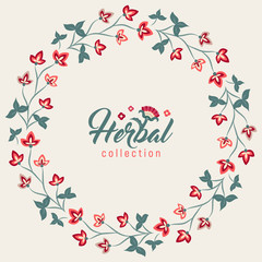 Floral round frame, Jacobean style flowers. Colorful herbal wreath. Vector illustration. Herbal collection,