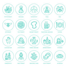 Alternative medicine line icons. Naturopathy, traditional treatment, homeopathy, osteopathy, herbal fish and leech therapy. Thin linear signs for health care center. Blue color.