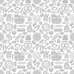 Estores personalizados con tu foto Bakery seamless pattern, food vector background of black white color. Confectionery products thin line icons - cake, croissant, muffin, pastry, cupcake, pie. Cute repeated illustration for sweet shop.