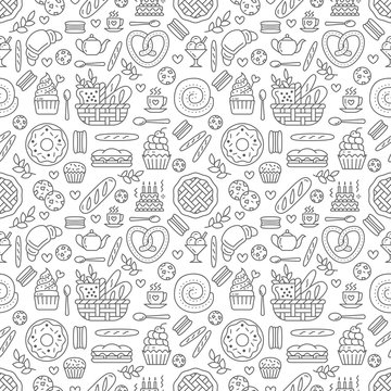 Bakery seamless pattern, food vector background of black white color. Confectionery products thin line icons - cake, croissant, muffin, pastry, cupcake, pie. Cute repeated illustration for sweet shop.