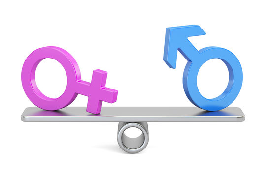 balance concept, seesaw with gender symbols, 3D rendering