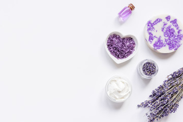 organic cosmetic with lavender oil on white background top view mock up