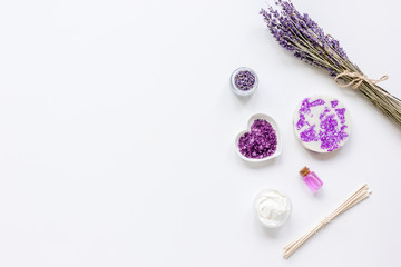 lavender herbs in body care cosmetics top view space for text