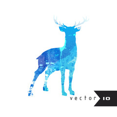 Watercolor silhouette of deer isolated on white background