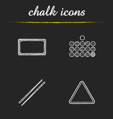 Billiard equipment chalk icons set