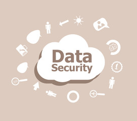 Text Data Security. Protection concept . Icons set for cloud computing for web and app
