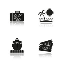 Travel and tourism drop shadow black icons set