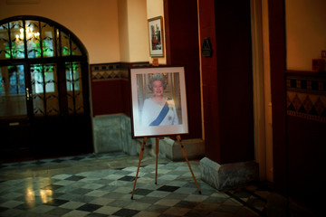 A picture of Queen Elizabeth II is seen at Convent Palace during her 91st birthday, in the British overseas territory of Gibraltar, historically claimed by Spain