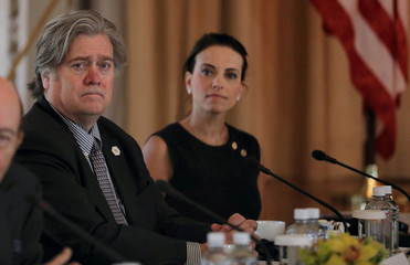 White House Chief Strategist Bannon listens with Deputy National Security Advisor for Strategy Powell during Trump-Xi bilateral meeting in Palm Beach
