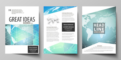 The vector illustration of editable layout of three A4 format modern covers design templates for brochure, magazine, flyer, booklet. Chemistry pattern, molecule structure, geometric design background.