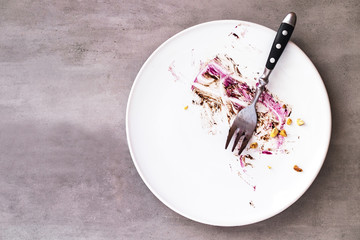 White empty plate with piece of cake leftovers