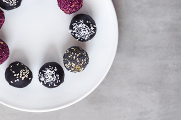 Fitness energy bites, raw chocolate truffles from above
