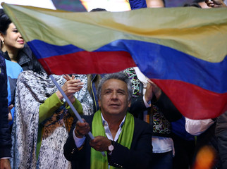 Ecuadorean presidential candidate Lenin Moreno waits for the results of the national election in a hotel in Quito