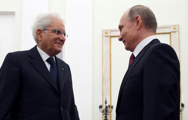 Russian President Vladimir Putin meets with Italian President Sergio Mattarella at the Kremlin in Moscow