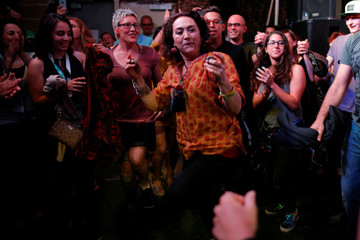 "Mamak Khadem dances with the audience at the ""ContraBanned"" showcase at the South by Southwest Music Film Interactive Festival 2017 in Austin"