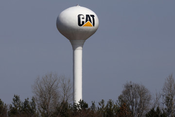 A Caterpillar corporate logo is pictured on a water tower in Chillicothe