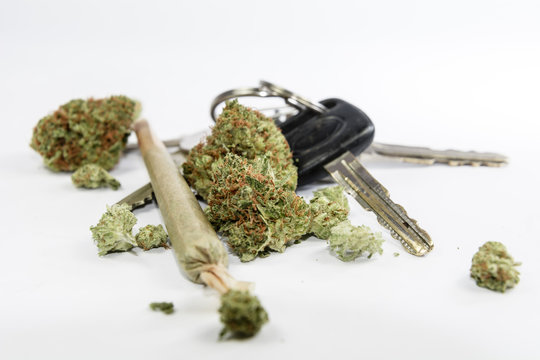 Marijuana and Driving- Don't Drive High - Car Keys and Cannabis