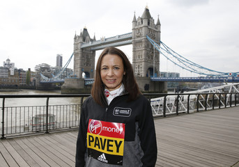 Great Britain's Jo Pavey poses for a photo ahead of the 2017 Virgin Money London Marathon