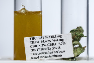 Glass Medical Tubes of THC, CBD and Other Cannabis Extracts