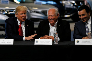Trump talks with auto industry leaders, including Williams and Fields at the American Center for Mobility in Ypsilanti Township