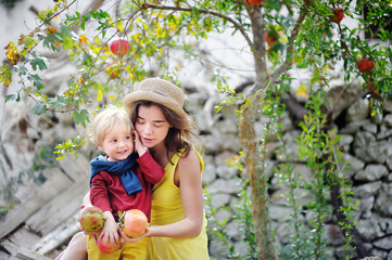 Young woman and cute child picking ripe pomegranate in sunny tree garden in Italy