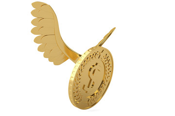 Gold coin with gold wings flying coin.3D illustration.
