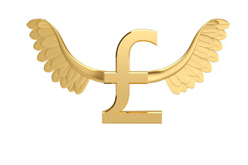 Gold pound symbol with gold wings.3D illustration.