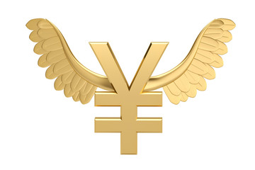 Gold yuan symbol with gold wings.3D illustration.