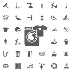Washing machine icon. Home appliances symbol. Flat sign.
