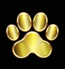 Dog gold foot print logo