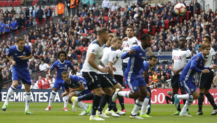 Chelsea's Willian scores their first goal from a free kick