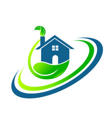 Logo green house leafs real estate vector