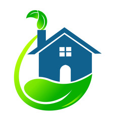 House ecology modern logo vector