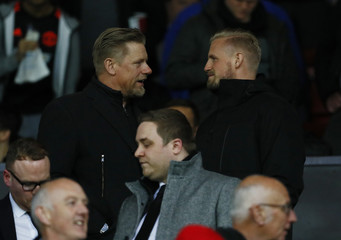 Leicester City's Kasper Schmeichel and father Peter Schmeichel in the stands