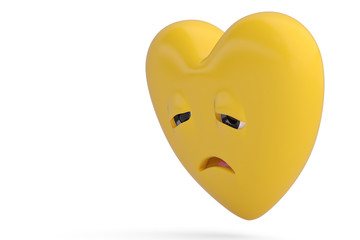 Disappointed heart emoticon  with heart emoji.3D illustration.