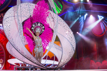 """Tamara Fietz, wearing a creation called """"Live and let live"""", performs on stage during Las Palmas' Carnival Queen ceremony in Las Palmas, Spanish Canary Island of Gran Canaria"""