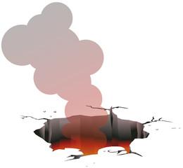 Ground hole emitting fire and smoke vector image