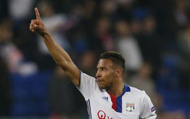 Lyon's Corentin Tolisso celebrates scoring their first goal