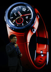 Yu, chief executive of Huawei's consumer business, speaks during presentation ceremony of new smartwatch, the Watch 2, at Mobile World Congress in Barcelona