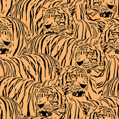 Abstract Tiger seamless pattern. Wild life animals. Black and orange texture. Illustration