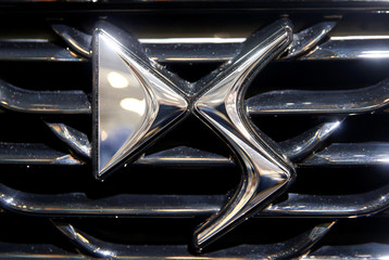 The logo of DS is seen during the 87th International Motor Show at Palexpo in Geneva