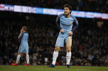 Manchester City's David Silva reacts