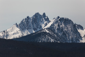 Sawtooth Mountains with Snow