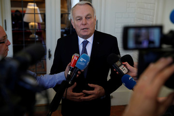 French Foreign Minister Jean-Marc Ayrault speaks with journalists about the fight against ISIS and the recent terrorist attack in London at the French Ambassador's Residence in Washington