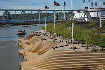The Serpentine Wall on the banks of the Ohio River in downtown Cincinnati