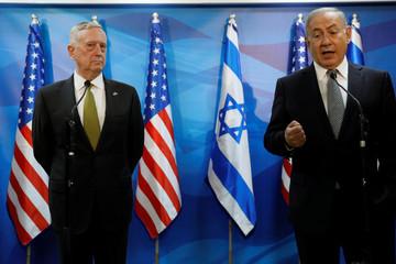 Israel's Prime Minister Benjamin Netanyahu delivers brief remarks as he welcomes U.S. Defense Secretary James Mattis in his offices in Jerusalem
