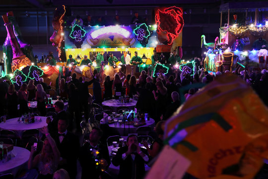 Floats make their way through at the Bacchus parade during Mardi Gras in New Orleans, Louisiana